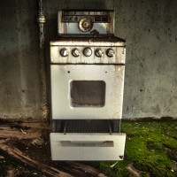 What's Cookin' - Old electric stove in the basement of a home in a Colorado ghost town.