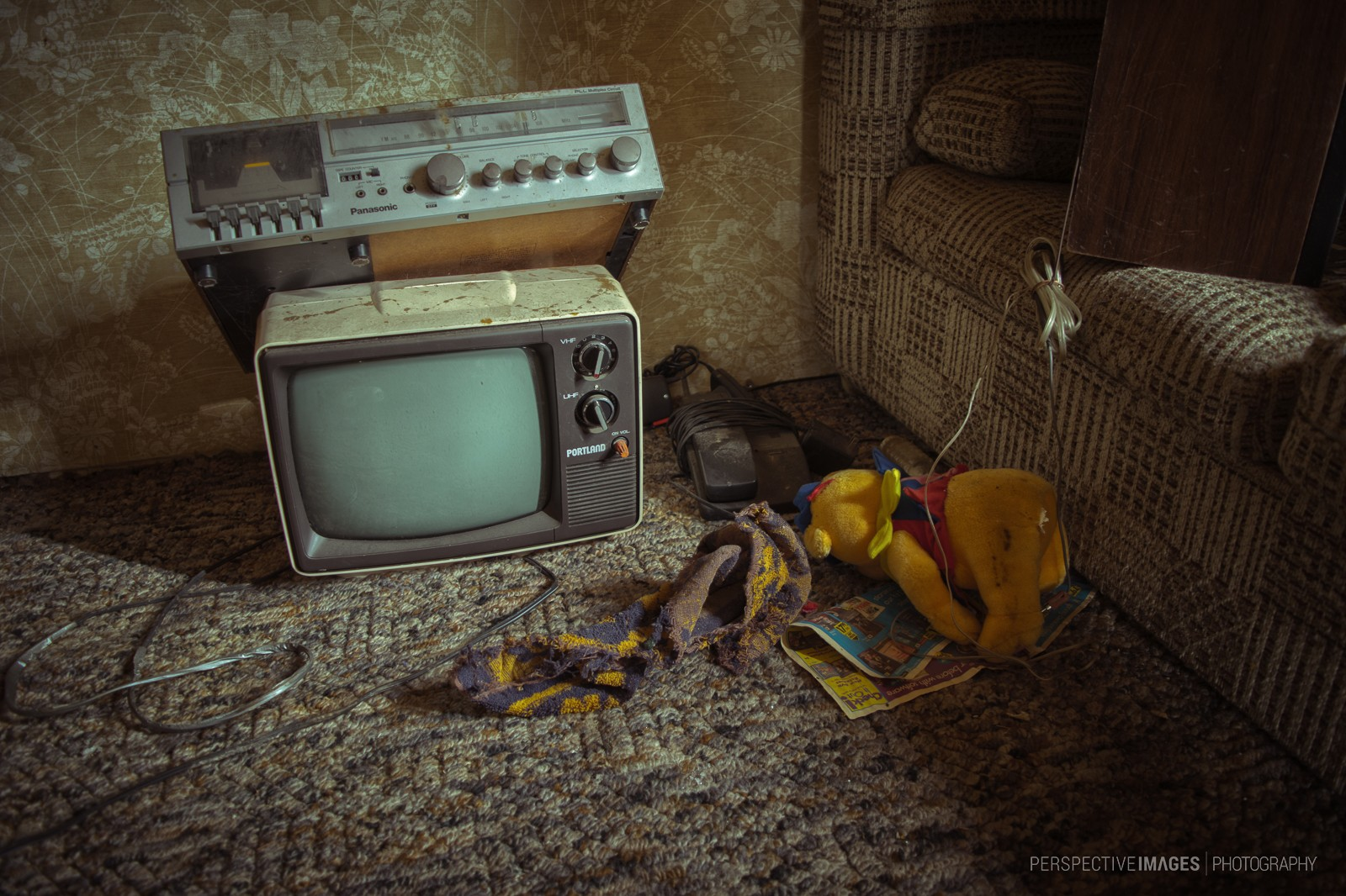 Nothing Worth Watching - 80's era television and tape deck at an abandoned mountain home.